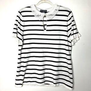 NWT Karl Lagerfeld Striped Short Sleeve Top